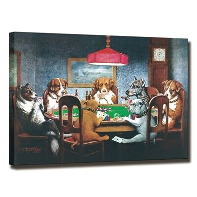 Home Art Decor Dog Playing Poker Painting Poster Art Wall HD Print on Canvas