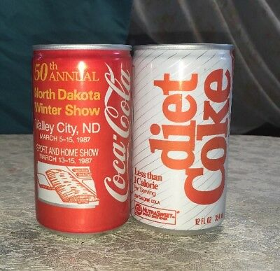 Lot Of 2 Vintage Coca Cola Coke Can Jamestown, ND 12oz North Dakota Winter Show