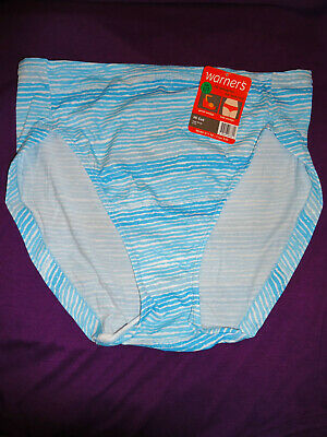 6ee162b7353 Warner s No Wedgies No Worries Hi Cut Brief Panty Blue Stripe Size 7 Large  5139