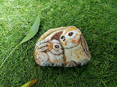 Hand Painted Rock - Mum and Baby Rabbits