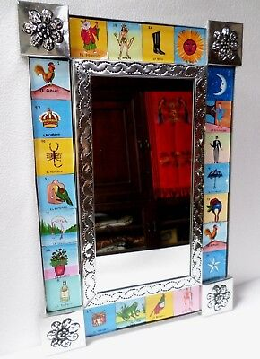 Mexican Folk Art Punched Tin Silver Wall Mirror Lottery Loteria Cards 19x13