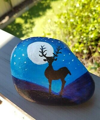 Hand Painted Rock - Twilight Reindeer