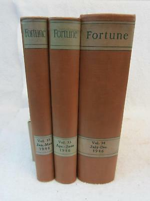Lot of 3 Vintage FORTUNE MAGAZINE 1946 Bound Volumes 12 Issues Complete Year