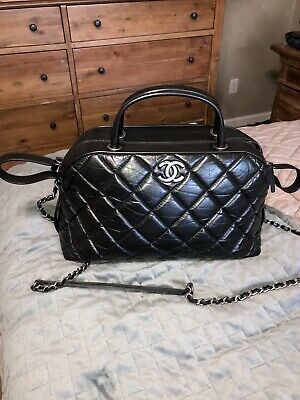 11b7ebb3bc02 CHANEL BLACK QUILTED Lambskin Leather Large Trendy CC Flap Bag ...