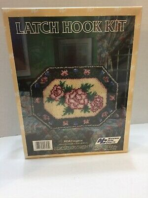 "Rose Floral Latch Hook Rug Kit National Yarn Crafts R854 Elegance 20""X 27"""