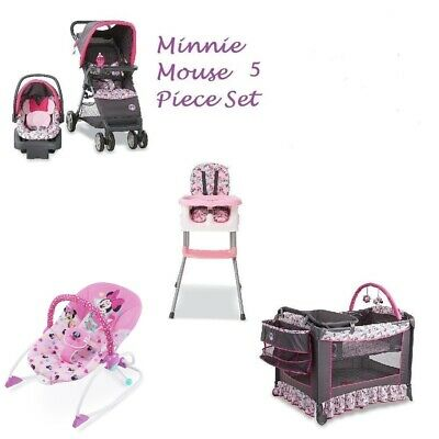 NEW  5 PC Minnie Mouse Baby Set Stroller Car Seat High Chair Play Yard Bouncer