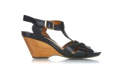 fd75307751a4 CLARKS Artisan Sandals Size 5.5 M Leather Black Wood Wedge Heels Buckle