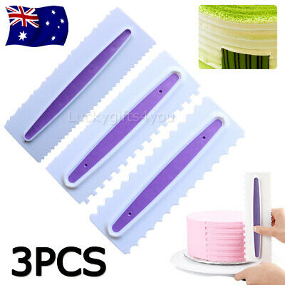 3Pcs Large Pastry Icing Comb Set Spatulas Scraper Cake Baking Decorating Tool AU