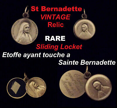 🌟 ST BERNADETTE RELIC Fabric which has touched Holy Bernadette Medal Locket VTG