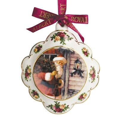 Old Country Rose Christmas Porcelain Decorations Santa