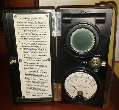 Weston Electrical Instrument Corp Foot-Candle Meter Model 614 In Case Works Fine