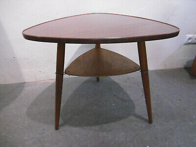3 Leg Kidney-Shaped Table Rockabilly 1960s Wood Table Side Table Brown