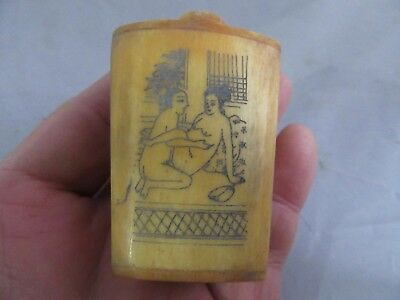 Chinese master Hand-painted Characters the story Cattle Bone snuff bottle y03