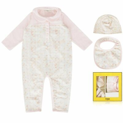 536eb6e93 $332 NEW FENDI 6M Baby GIRL pale pink romper roma print gift set 3 PC hat