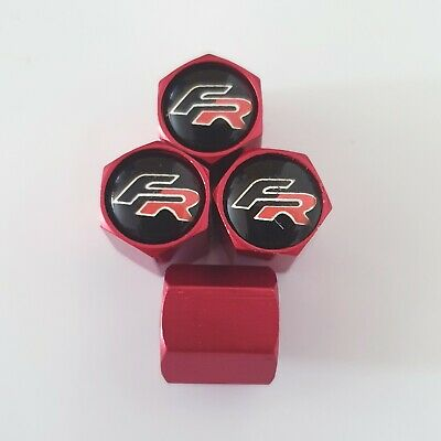 SEAT FR metal valve DUST CAPS red ask other colours Mii Leon ST Cupra Arona Hexi