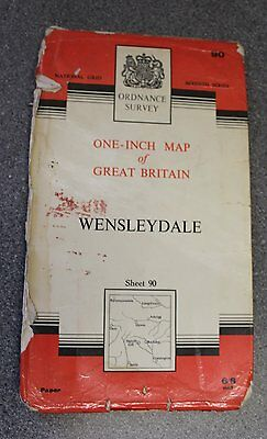 Ordnance Survey One-Inch Map 90 WENSLEYDALE (1961 Paper)