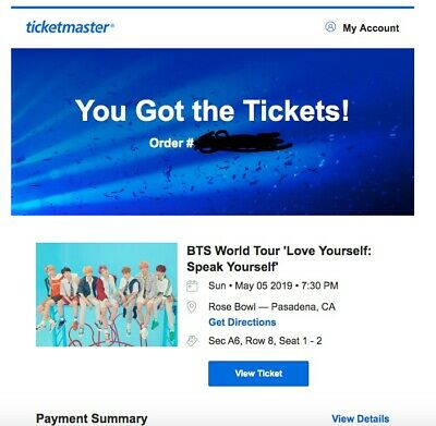 2 BTS Speak Yourself Tickets Rose Bowl Pasadena (5/5 Sunday Day2) Floor A6 Row 8