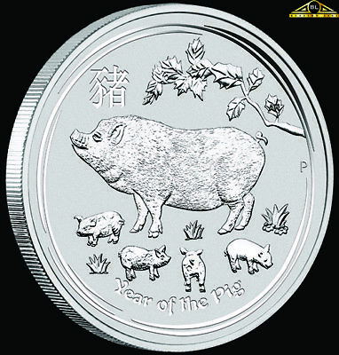 2019 2oz Perth Mint Silver Lunar Year of the Pig Coin with Capsule