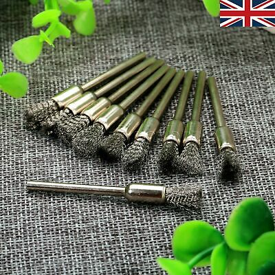 10pcs 6mm Pen Stainless Steel Wire Brushes Polishing 3mm Shank Rotary Tool