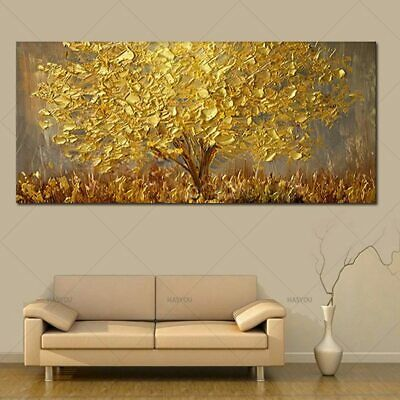 Hand Painted Knife Gold Tree Oil Painting On Canvas Large 2019 Decor