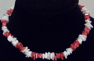 "Pink / White Puka Shell 16""  Necklace / Choker"