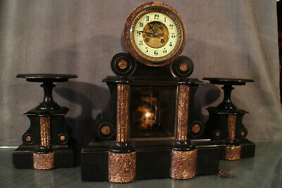 Large Trim Fireplace Pendulum Pair of Small Pans Marble Napoleon 3