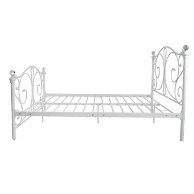 4ft, 4ft6 Double & 5ft King White Metal Bed Frame With Crystal Finials UK STOCK