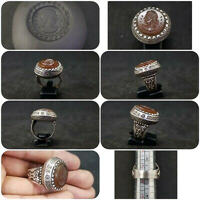 Rare Solid silver Unique Old Ring with Queen Wonderful Intaligo Agate stone #T12