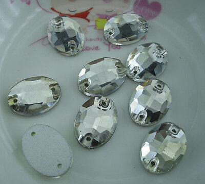 Oval clear glass crystal Faceted rhinestone flat silver bottom sew 50pcs
