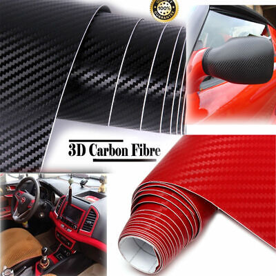 3D Carbon Fibre Vinyl Wrap (Air/Bubble Free) Black 2m x600mm 78*23in Car Sticker
