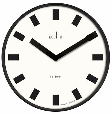 Acctim Arvid Black Gloss Metal Wall Clock with White Dial 40cm