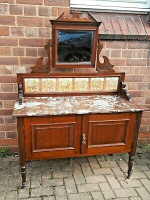 Antique c1900 Mahogany Marble Top Wash Stand Tiled Back & Mirror VGC