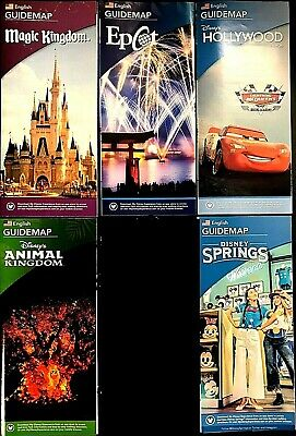 NEW 2019 Walt Disney World Theme Park Guide Maps 5 Current Maps Free Shipping!!