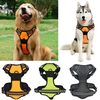 aab21a93c1d Dog Harness Adjustable Pet Padded Vest Collar Strong Outdoor Reflective Size