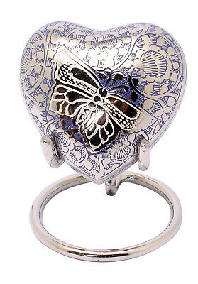 Mini Heart Keepsake Urn For Ashes Small Cremation Memorial Indigo Blue Box Stand