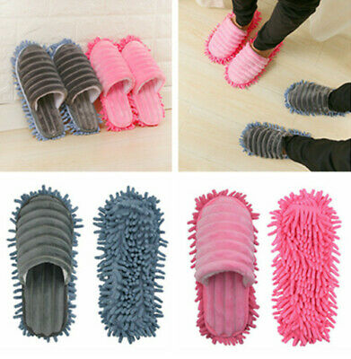 A pair Lazy Mop Slippers Floor Foot Socks Shoes Quick Polishing Cleaning Dust UK