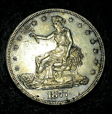 1877-S US Silver Trade Dollar. Rare UNC/MS/BU details, Attractive Key date,Sharp