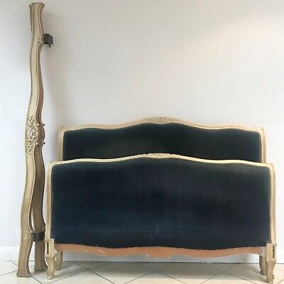 Antique French Corbeille Style Double Bed Frame Upholstered Vintage Blue Velvet
