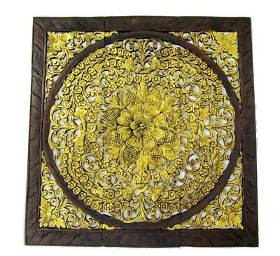 """Large Teak Wood Wall Carving Thai Carved Wooden Lotus Plaque Relief Panels 35"""""""