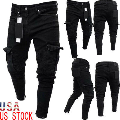 Men Biker Ripped Long Denim Trousers Skinny Jeans Pants Destroyed Stretchy-Black