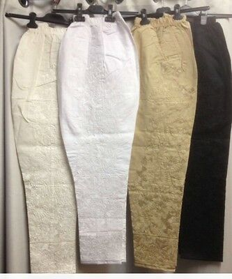 NEW  Stylist Pakistani/Indian Cotton Embroidered elasticated fashion trousers