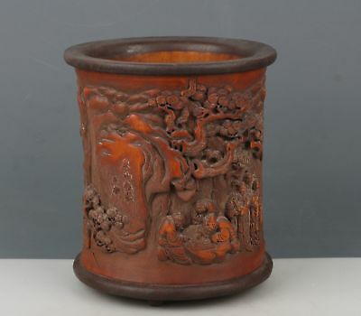 China Exquisite Hand carved pine landscape people Carving bamboo Pen holder/