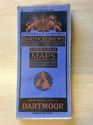Bartholomew's Revised Half Inch Map of Dartmoor, Cloth Mounted, EXCELLENT COND
