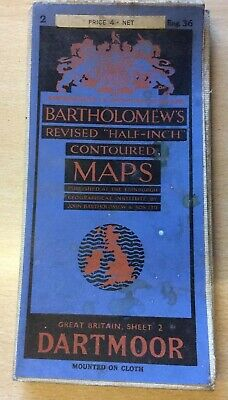 Bartholomew's Revised Half Inch Map of Dartmoor, Cloth Mounted, Very Good Cond