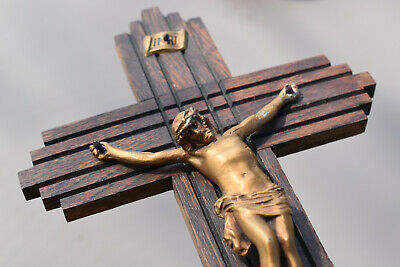 ⭐ antique/vintage French  crucifix ,religious wall cross ⭐