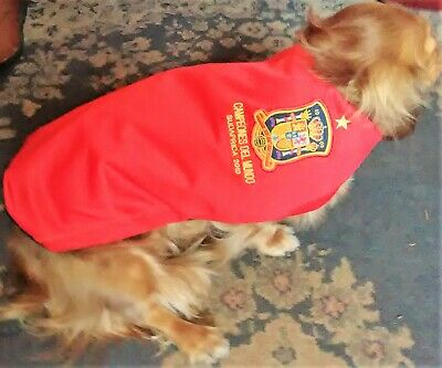 "SPAIN Dog Football Shirt WATERPROOF - Home 2010 size Small 14"" PERSONALISED FREE"