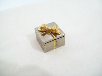 Vintage Mini Quartz Clock in Metal & Brass Hinged Gift Box Japan Movement