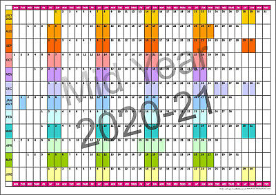 2019/20 MID YEAR COLOUR CODED WALL PLANNER A2, A1, A0  July 2019 - June 2020