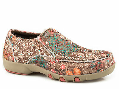 Roper Girls Kids Multi-Color Fabric Chase Floral Loafer Shoes