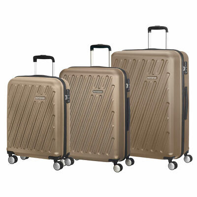 American Tourister HyperCube 3 Pc Spinner Suitcase, Pearl Cream, Cabin Med Large